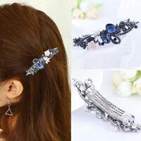 Women Blue Crystal Rhinestone Hair Clip Fashion Flower Barrette Clamp Hairpin