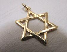"Large 14K Gold Star of David Pendant, Classic David Star Charm, Unisex 1 1/4"""
