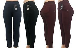 New Fashion Women Winter Warm Pull Up  Fleece Lined Pants With Pockets 1159