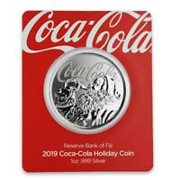 Coca-Cola 2019 Holiday Coin 999 Silver 1 oz Santa Claus Fiji $1 Coke Christmas