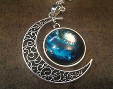 Glass Galaxy Planet Crescent Blue Moon Pendant Necklace UK Seller