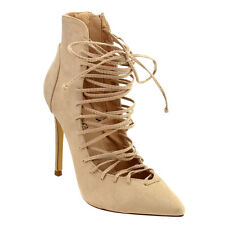 Women's Pointy Toe Lace Up Stiletto Heel Pump Shoes NUDE Size 8 1/2