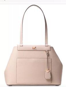 New Michael Kors Meredith East West Bonded Shoulder bag soft pink gold bag snap