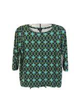 Talbots Womens Petite Geometric Pattern 3/4 Sleeve Stretch Blouse Top Shirt 1Xp