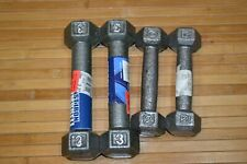 IRON HEX DUMBBELL WEIGHTS 2 LBS 3 LBS Metal PAIRS BARBELL GYM FITNESS Weights