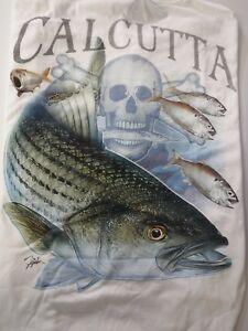 NEW Authentic Calcutta Shirt, Striper/Faded  Logo, White, 2XL, Short Slv 508518