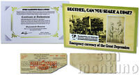 BROTHER, CAN YOU SPARE A DIME Great Depression Emergency Currency SC Pay Warrant