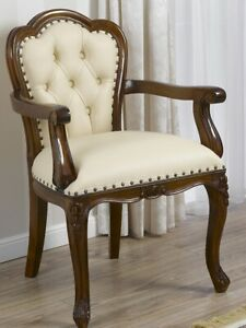 Office chair with armrests Josephine English style walnut faux leather champagne