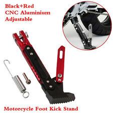 Adjustable Aluminium CNC Motorcycle Foot Kickstand Kick Side Stand Black+Red