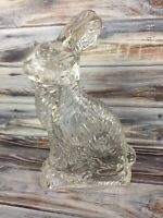 """Vintage JH Millstein Clear Glass Rabbit Candy Container Figurine 6 1/4"""" Empty"""