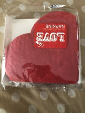 Red Heart Shapped Napkins Packaging Has Been Opened (approx 28)