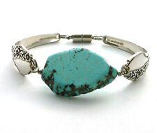 "Together 1956 spoon bracelet silverware turquoise dyed Howlite 7.5"" medium"