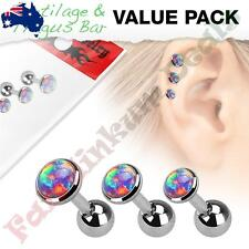 316L Surgical Steel Cartilage Barbells with Purple Opal Set Top 3 pce Value Pack