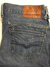 Guess Los Angeles Jeans size 33 Rhodes Straight Leg Medium Wash Distressed EUC