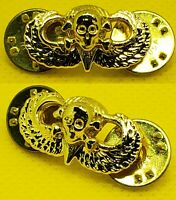 Mini Skull Jump Wing US Army Airborne Miniature Hat Cap Insignia GOLD Badge Pin