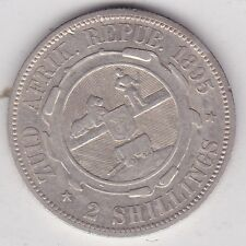SOUTH AFRICA 1895 KRUGER SILVER TWO SHILLINGS IN GOOD FINE CONDITION