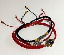 Shamballa 3 Bracelet Red and Black Nylon Cord  Woman's 6.5 to 7 inch Hamsa Hand