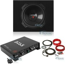 "Kenwood 12"" 2000W 4 Ohm Car Subwoofer + Sealed Sub Box + Amplifier + Amp Kit"