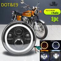 "90W LED Headlight Black 7"" E MARKED DRL & HALO for Motorbike Cafe Racer"