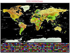Travel Tracker Scratch Off World Map Poster Country Flag Scratch Map Large Size