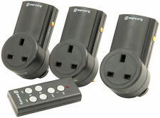Pack of 3 Remote Control Wireless Radio RF 240/220 Volt Mains Sockets & Remote