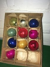 VINTAGE MERCURY GLASS CHRISTMAS BALLS MADE IN POLAND WITH ORIGINAL BOX BOTTOM