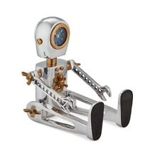 Robot Clock With Wrench Arms Sitting or Standing Urban Atomic Retro Fun