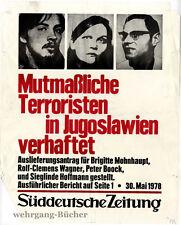 Plakat Süddeutsche Zeitung. Mutmaßliche (RAF) Terroristen verhaftet. 1978