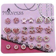 Pack of 12 Pink Crystal Magnetic Stud Earrings for Girls Kids E . Skyblue