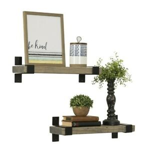 Rustic Solid Wood Industrial Brackets Wall Mounted Floating Shelves Storage Set