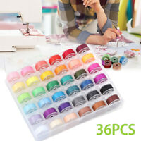 12/25/36/72PCs Sewing Thread Set with Plastic Bobbins Sewing Machine Spools Case