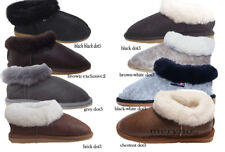 Women sheepskin slippers full mule boots fur real natural genuine