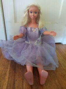 """Vintage 1992 Mattel My Size Barbie w/ Purple Dress Life Size 36"""" Doll  Marked"""