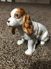 "Cocker Spaniel Dog Figurine Beautiful White And Tan Beautiful Detail 8"" Long"