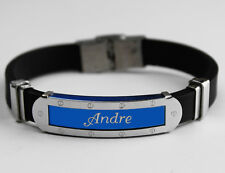 ANDRE - Mens Silicone & Blue Name Plate Engraved Bracelet - Gifts For Him