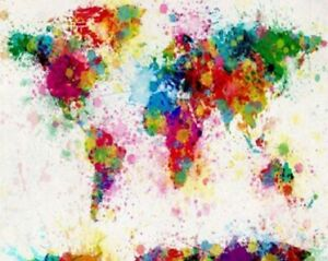 Abstract Map Of The World Colorful Painting Artwork Paint By Numbers Kit DIY