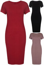 Patternless Short Sleeve Stretch Dresses for Women