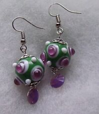GREEN AND AND LIGHT AMETHYST BIG BUMPS LAMPWORK GLASS EARRINGS