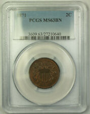 1871 2c Two Cent Piece PCGS MS-63 BN Some Red GKG