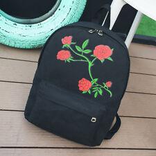 Embroidery Rose Flower Backpack Shoulder Bag School Bags Travel Rucksack Satchel