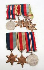 Vintage WW2 Pair of Full Size Campaign Medal Groups on Ribbons / Pin Bar