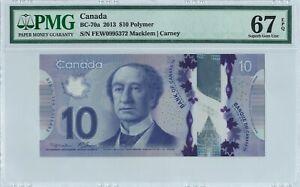 Canada 10 Dollars BC-70a 2013 PMG 67 EPQ First pfx s/n FEW0995372 Polymer