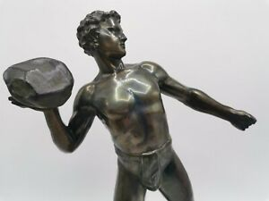 bronzed statue German Athlete on rectangular plinth, singed H Eichberg.