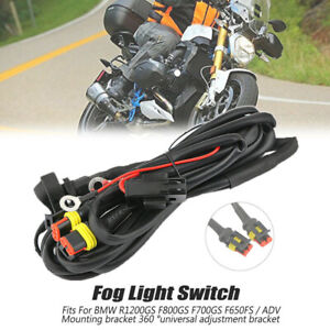 LED Fog Lights 40A Wiring Harness Switch On/Off For BMW R1200GS F800GS / ADV