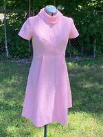 VTG Mod 60s A Line High Collar Knee Length Candy Pink Dress Atomic Large 10 12