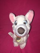 """Disney Store Bolt Dog 7"""" Plush Toy Stuffed Animal Red Collar embroidered eyes"""