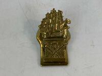 Vintage Brass Ship Form Desk / Wall Paper Clip w/ Anchor & Swords Decoration