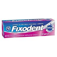 Fixodent Denture Adhesive Cream Original Strong Long Hold 0.75 oz (Pack of 4)
