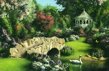 "Alan Giana ""SONG OF SPRING"" Swan Gazebo Garden Bridge BOXLESS Jigsaw Puzzle NEW"