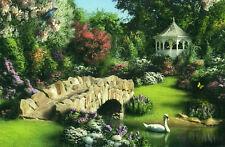 """Alan Giana """"Song Of Spring"""" Swan Gazebo Garden Bridge Boxless Jigsaw Puzzle New"""